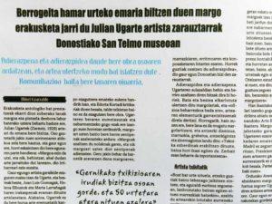 Apariciones de Julián Ugarte en prensa escrita. Exposición San Telmo